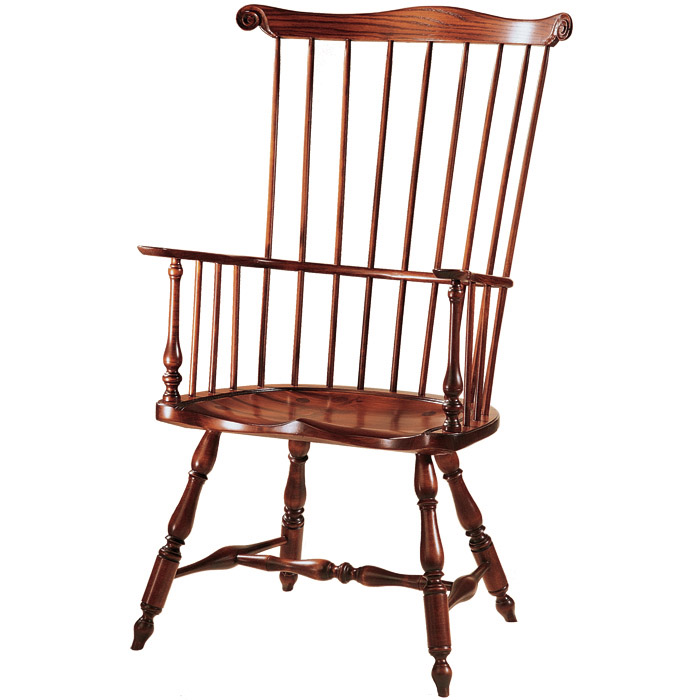 New England Comb Back Windsor Rocker with Knuckled Arms | Amish