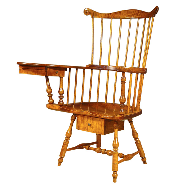 18th century antique reproduction Writing Arm Chairs Philadelphia Writing Arm Chair - Tiger Maple  sc 1 st  D.R. Dimes & D.R.DIMES Philadelphia Writing Arm Chair - Tiger Maple - : Writing ...