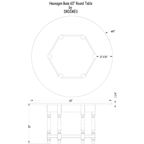 Hexagon Base 60 Round Table